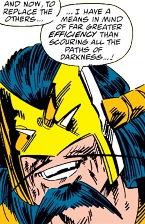 Master Pandemonium (Avengers enemy) (Marvel Comics) triumphant face closeup