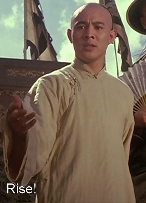 Master Wong (Jet Li in Once Upon A Time In China movies) giving a speech