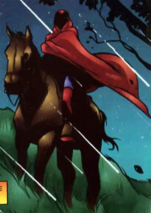 Master of the Hunt (Freex character) (Ultraverse comics) on a horse under the rain