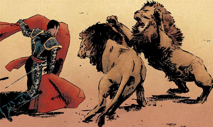 Matador (Juan) vs. two lions