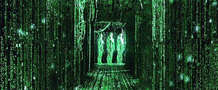 Three agents seen as Matrix code