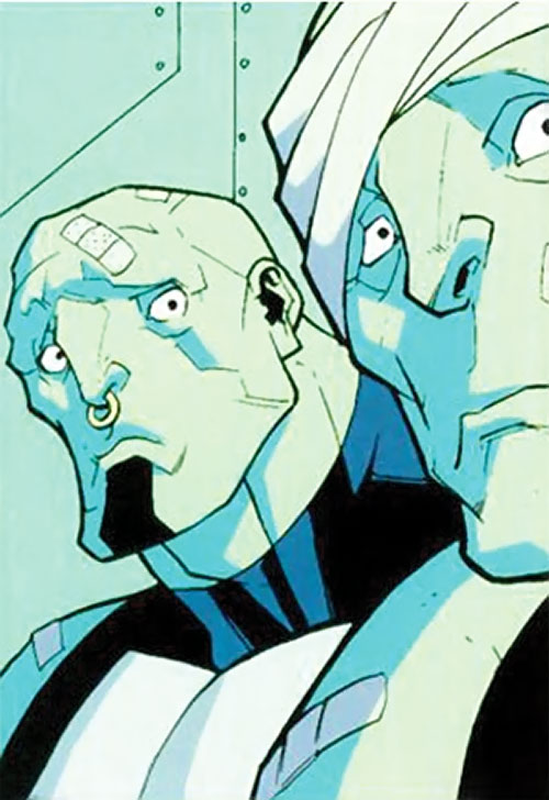Mauler Twins (Invincible enemy) (Image Comics) wounded in green lighting