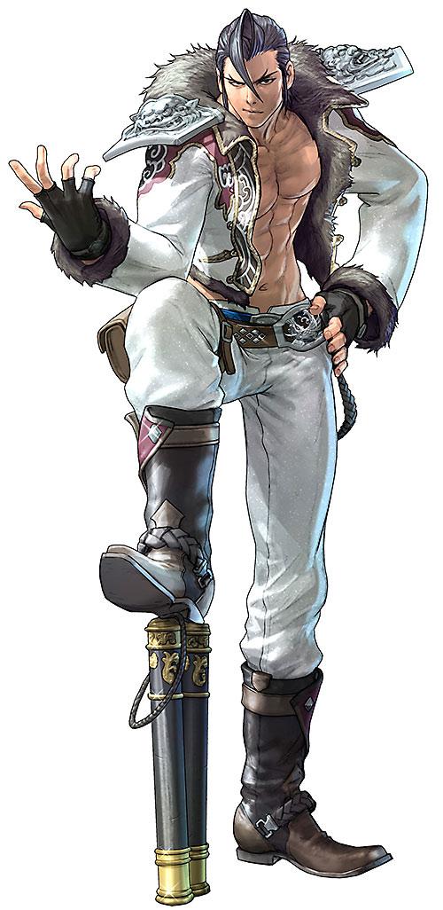 Maxi (Soul Calibur) posing with a foot on his nunchaku