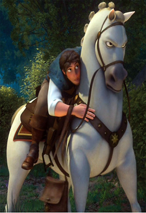 Maximus the horse (Disney's Tangled movie) with Flynn in the saddle
