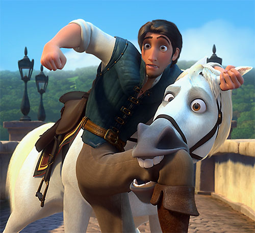 Maximus the horse (Disney's Tangled movie) and Flynn Ryder