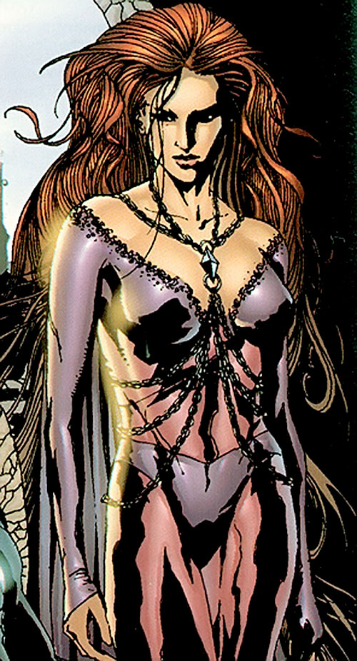 Medusa of the Inhumans (Marvel Comics) in a lingerie-like dress