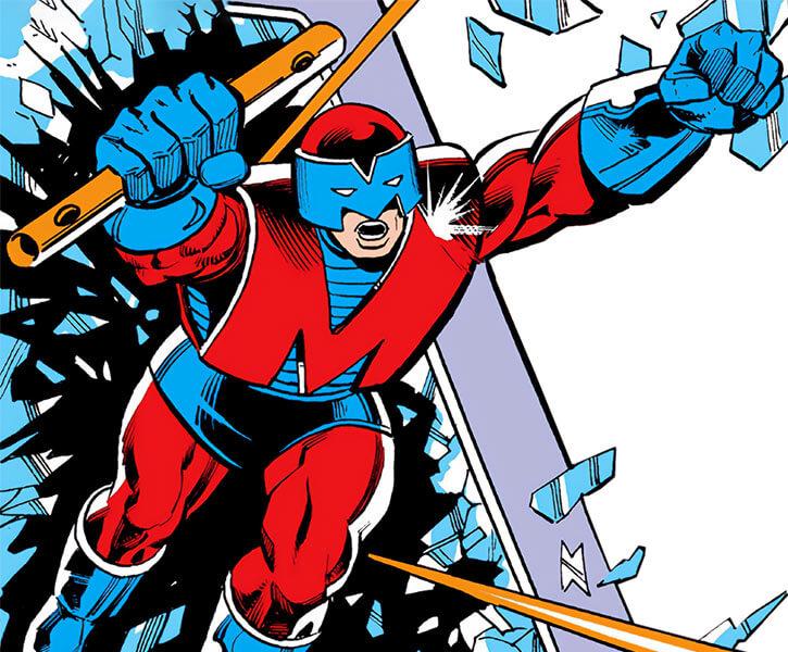 Megatak (Thor enemy) (Marvel Comics) bursts through a screen
