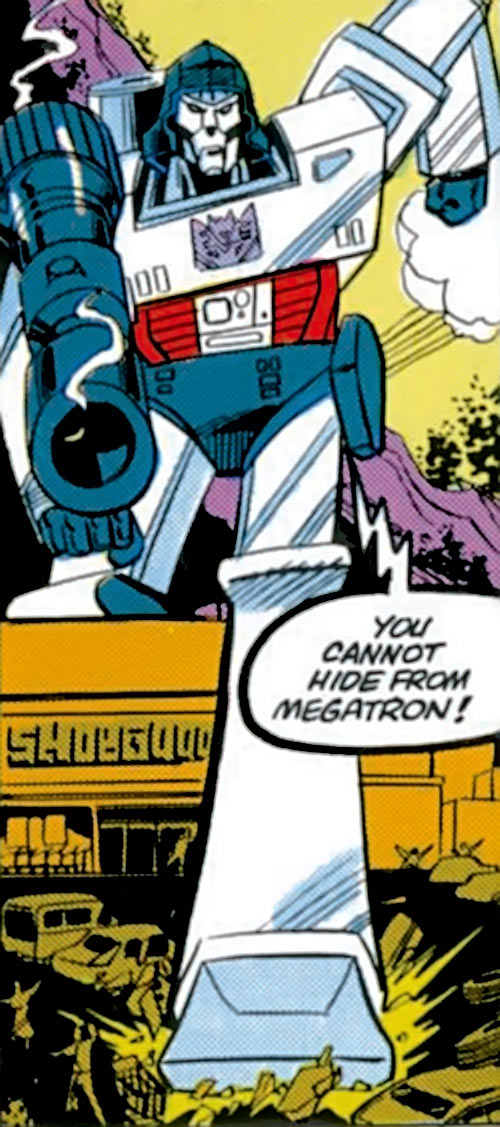 Megatron (Transformers) (Marvel Comics 1980s version) stepping over a building