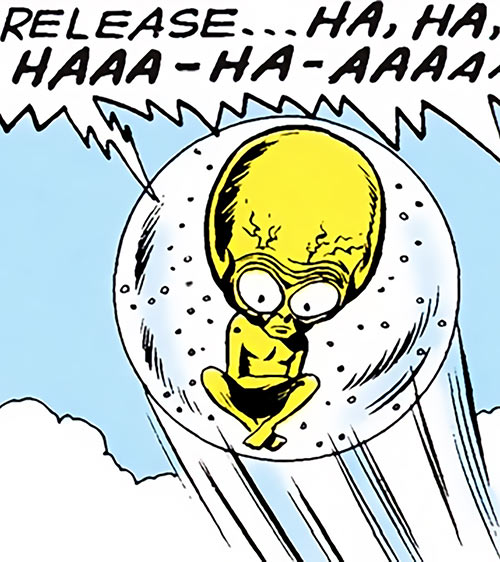 Meglaro (Legion of Super-Heroes enemy) (DC Comics) laughing and soaring
