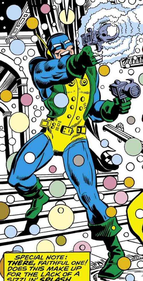 The Mercenary (Iron Man enemy) (Marvel Comics) firing a strobe gun