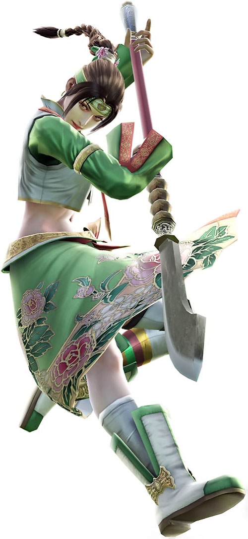 Mi-Na Seong (Soul Calibur) leaping down in green and white