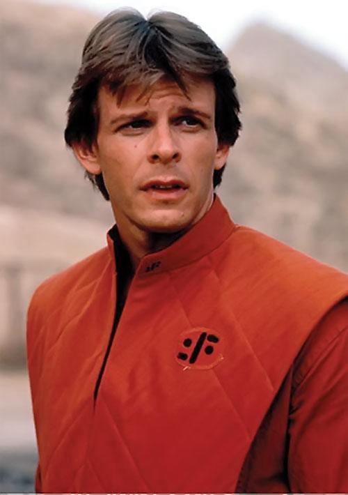 Mike Donovan (Marc Singer in V) portrait in orange uniform