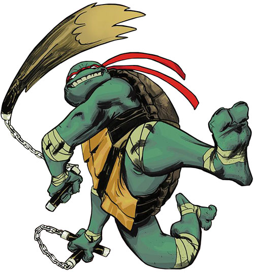 Michealangelo of the Teenage Mutant Ninja Turtles (TMNT comics) with dual nunchaku