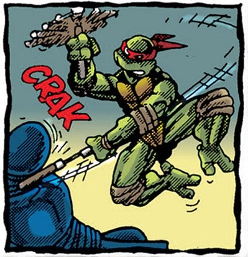 Michealangelo of the Teenage Mutant Ninja Turtles (TMNT comics) hitting a ninja with his nunchaku