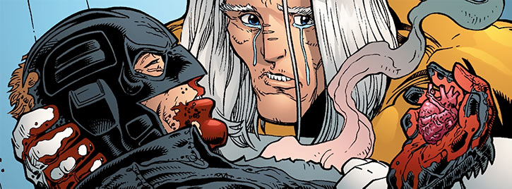 Apollo holding a badly wounded Midnighter