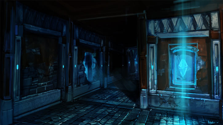Might and Magic X Legacy game concept art - Spooky corridor