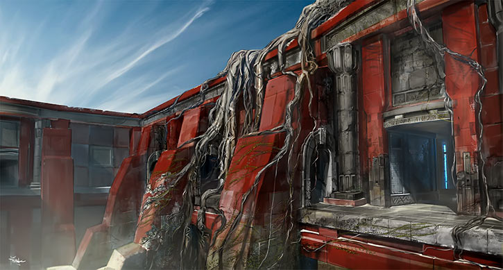 Might and Magic X Legacy game concept art - Red ruins with roots