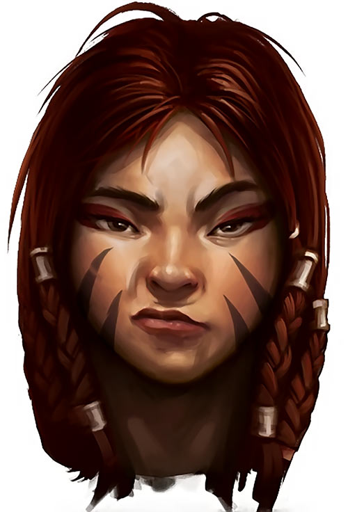 Might and Magic X Legacy game concept art - woman face sneer dwarf