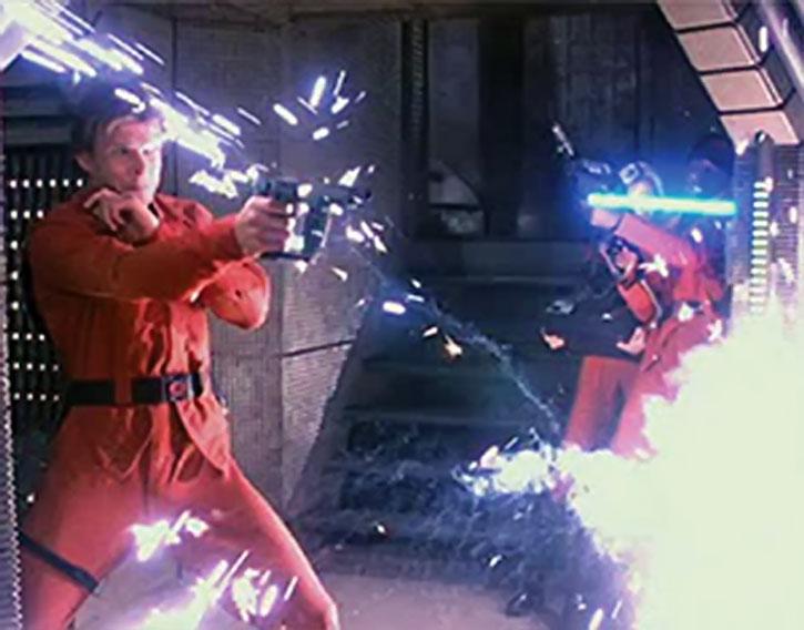Mike Donovan (Marc Singer) in a laser gunfight