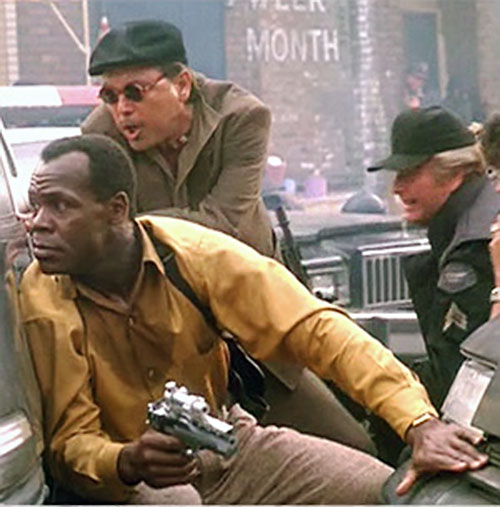 Mike Harrivan (Danny Glover in Predator II) with other cops during a gunfight