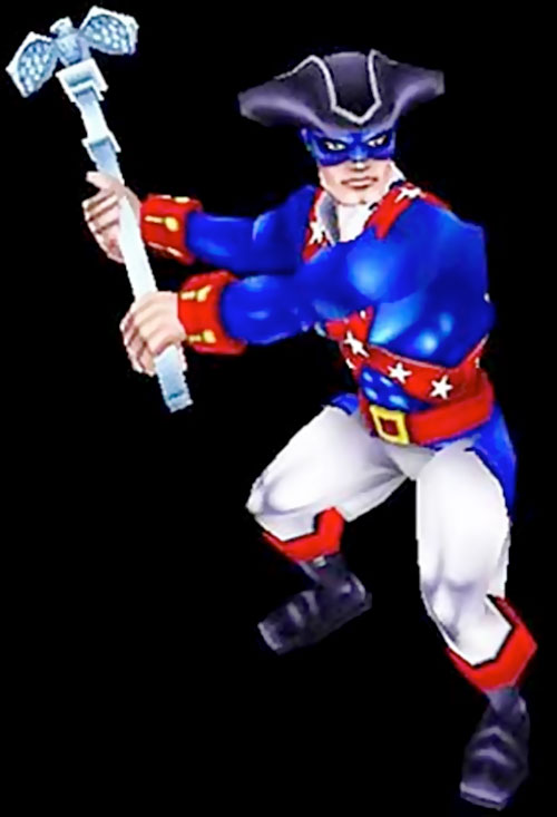 Minuteman (Freedom Force) brandishes his staff