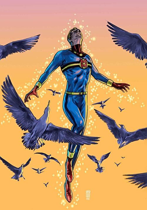 Miracleman flies among birds