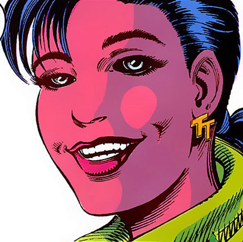 Mirage Delgado of the Team Titans (DC Comics) with hot pink skin