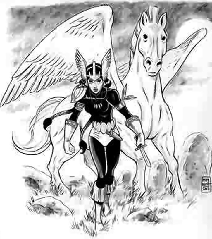 Mirage (Danielle Moonstar) as a Valkyrie, blakc and white sketch