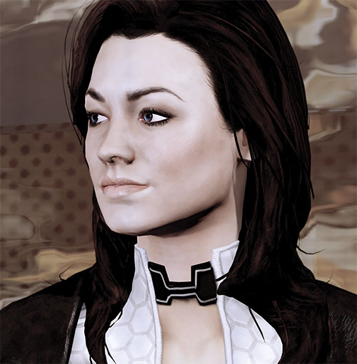 Miranda Lawson (Mass Effect) face closeup side view