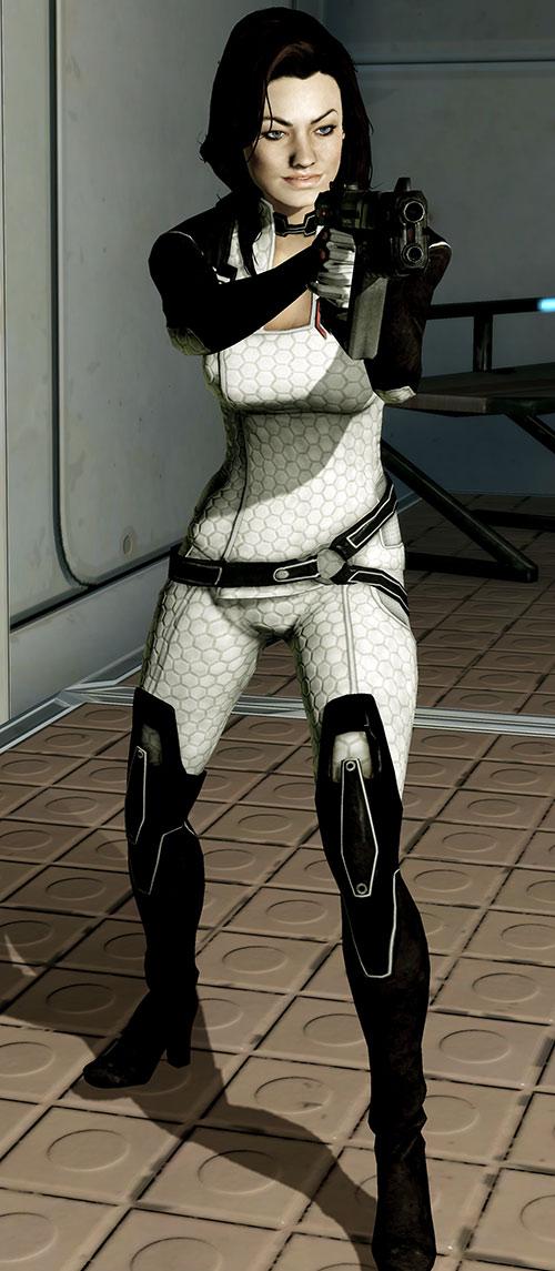 Miranda Lawson (Mass Effect) aiming a Shuriken gun