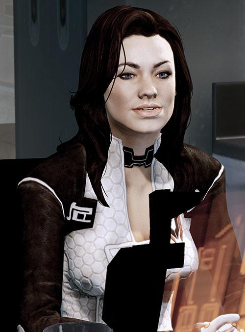 Miranda Lawson (Mass Effect) at her desk