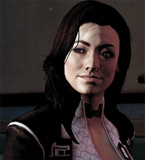 Miranda Lawson (Mass Effect) smiling shadowed face