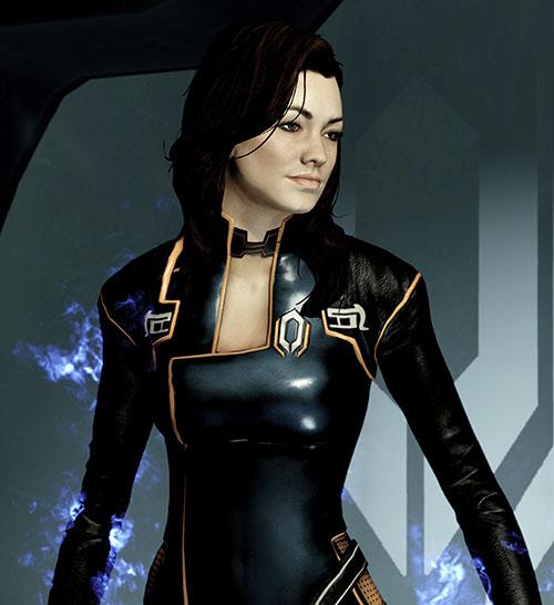 Miranda Lawson (Mass Effect) in black, biotic energy