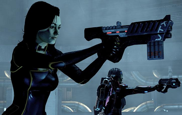 Miranda Lawson and Commander Shepard pointing their guns
