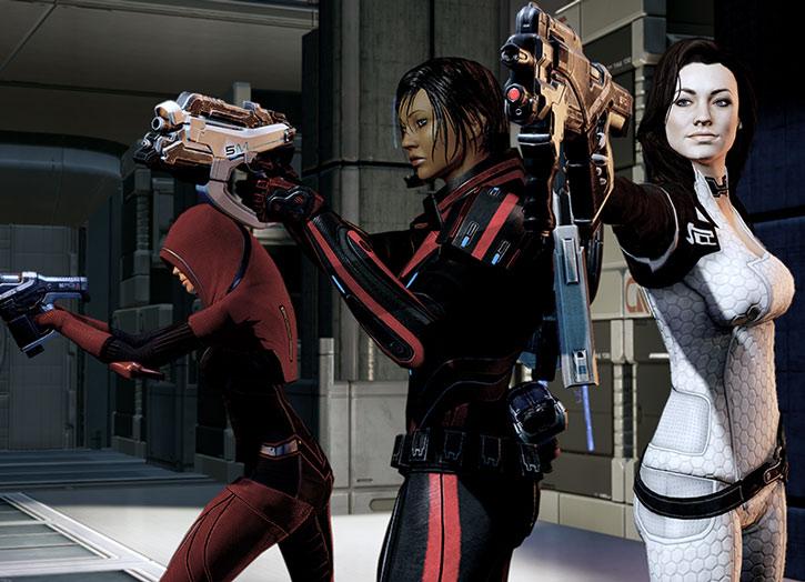 Miranda Lawson, Kasumi and Commander Shepard aim their guns