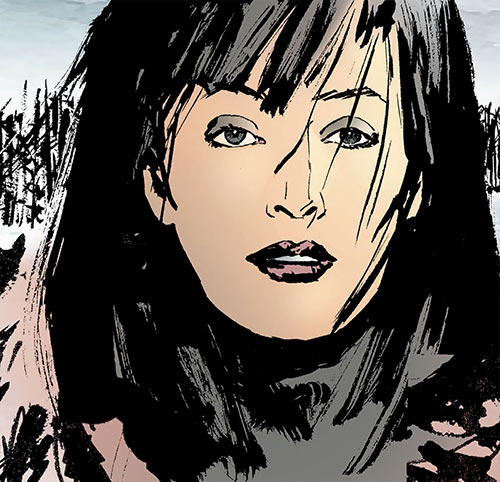 Miranda Zero of Global Frequency (Wildstorm Comics) with a parka in the snow
