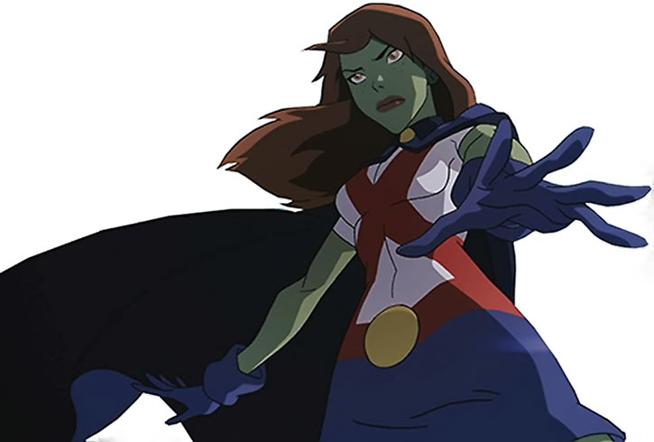 Miss Martian focusing on a white background