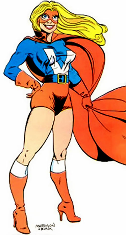 Miss Victory of Femforce (AC Comics) with the red shorts and blue top