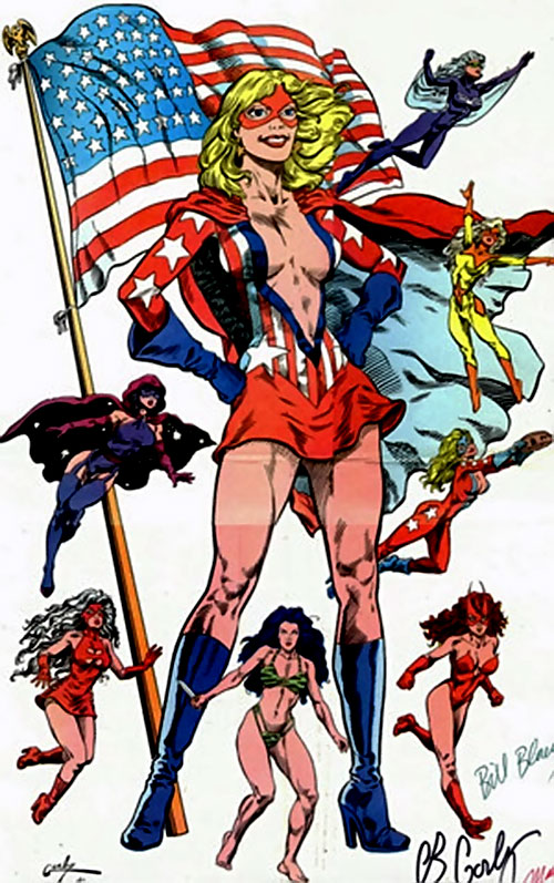 Miss Victory and Femforce (AC Comics) with the red minidress