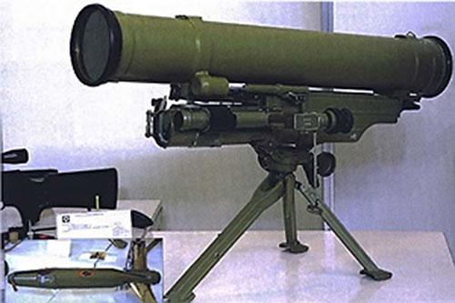 Anti-tank missile on a tripod mount
