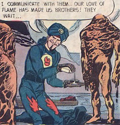 Mister Blaze (Peacemaker enemy) (Charlton Comics) among lava men