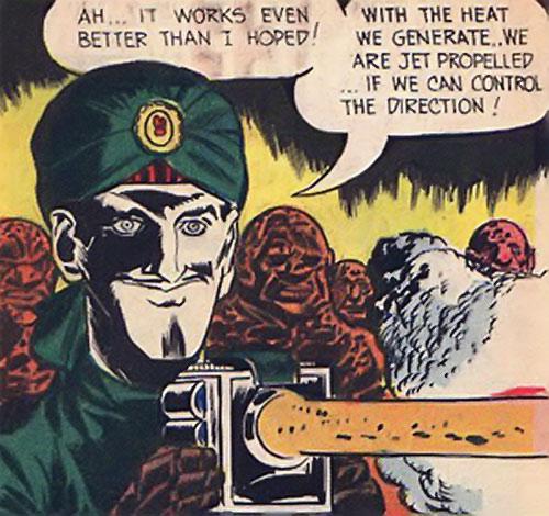 Mister Blaze (Peacemaker enemy) (Charlton Comics) using a heat ray