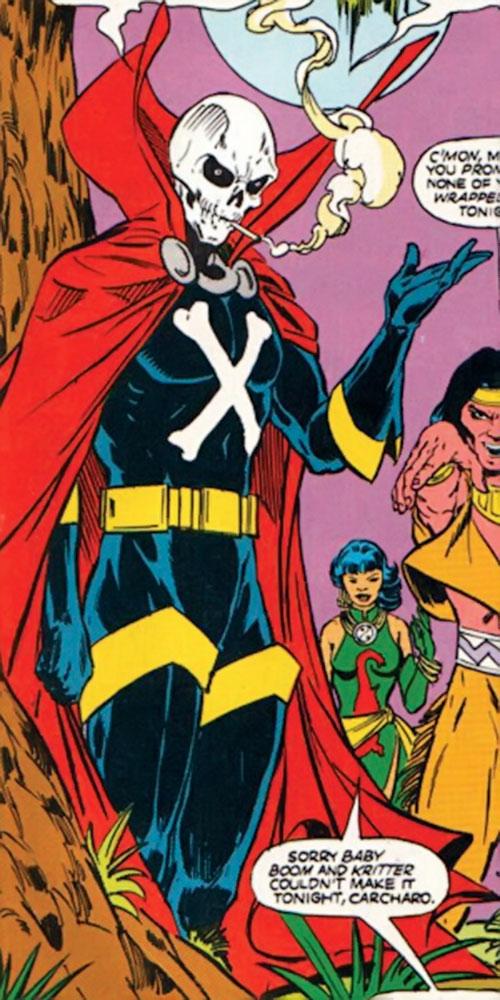 Mister Bones of Helix and Infinity, Inc. (DC Comics) with Arak and Tao Jones