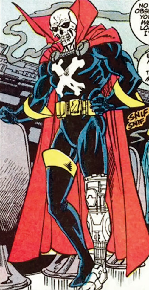 Mister Bones of Helix and Infinity, Inc. (DC Comics) with a cigarette and his bionic leg