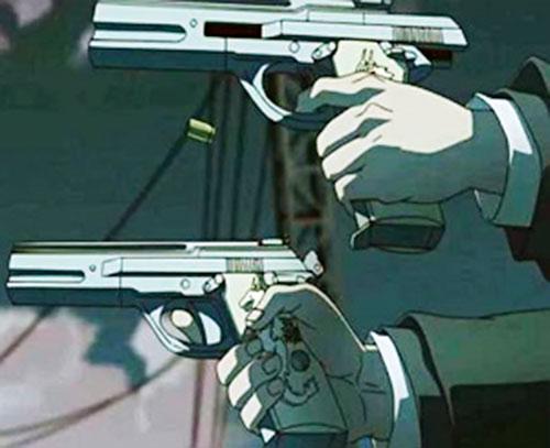 Mister Chang (Black Lagoon)'s Berettas firing