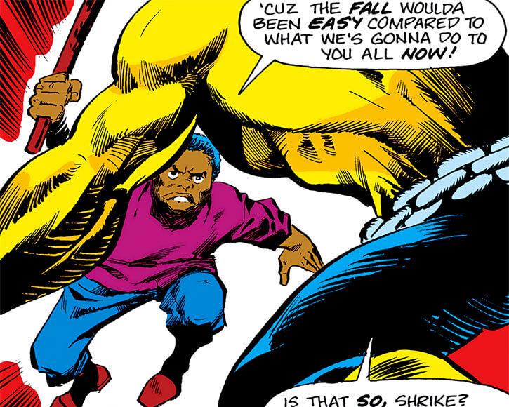 Mister Fish's sidekick Shrike charges Power Man (Luke Cage)