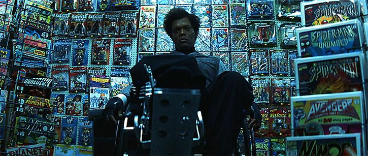 Mister Glass (Samuel Jackson) in his comic books shop