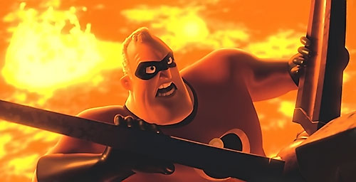 Mister Incredible (Pixar's The Incredibles) stops a propeller