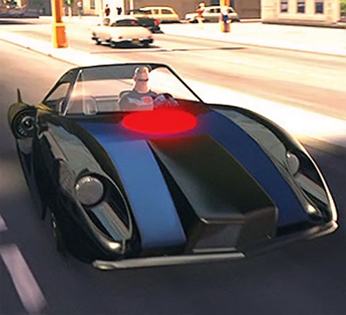 A young Mister Incredible (Pixar's The Incredibles) in his custom car