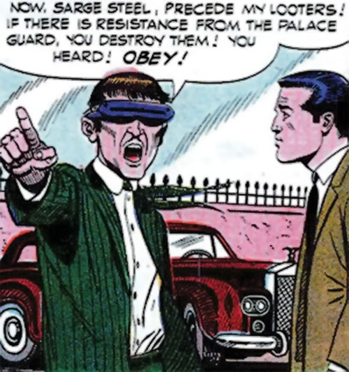 Mister Ize (Sarge Steel enemy) (Secret Agent Charlton comics) shouting orders